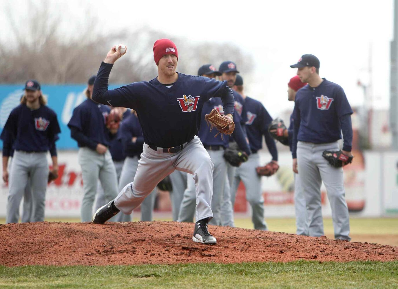 Kyle Bellamy, #23, throws a pitch at Shaw Park during the Winnipeg Goldeyes' first on-field workout of the year. (Ruth Bonneville / Winnipeg Free Press)
