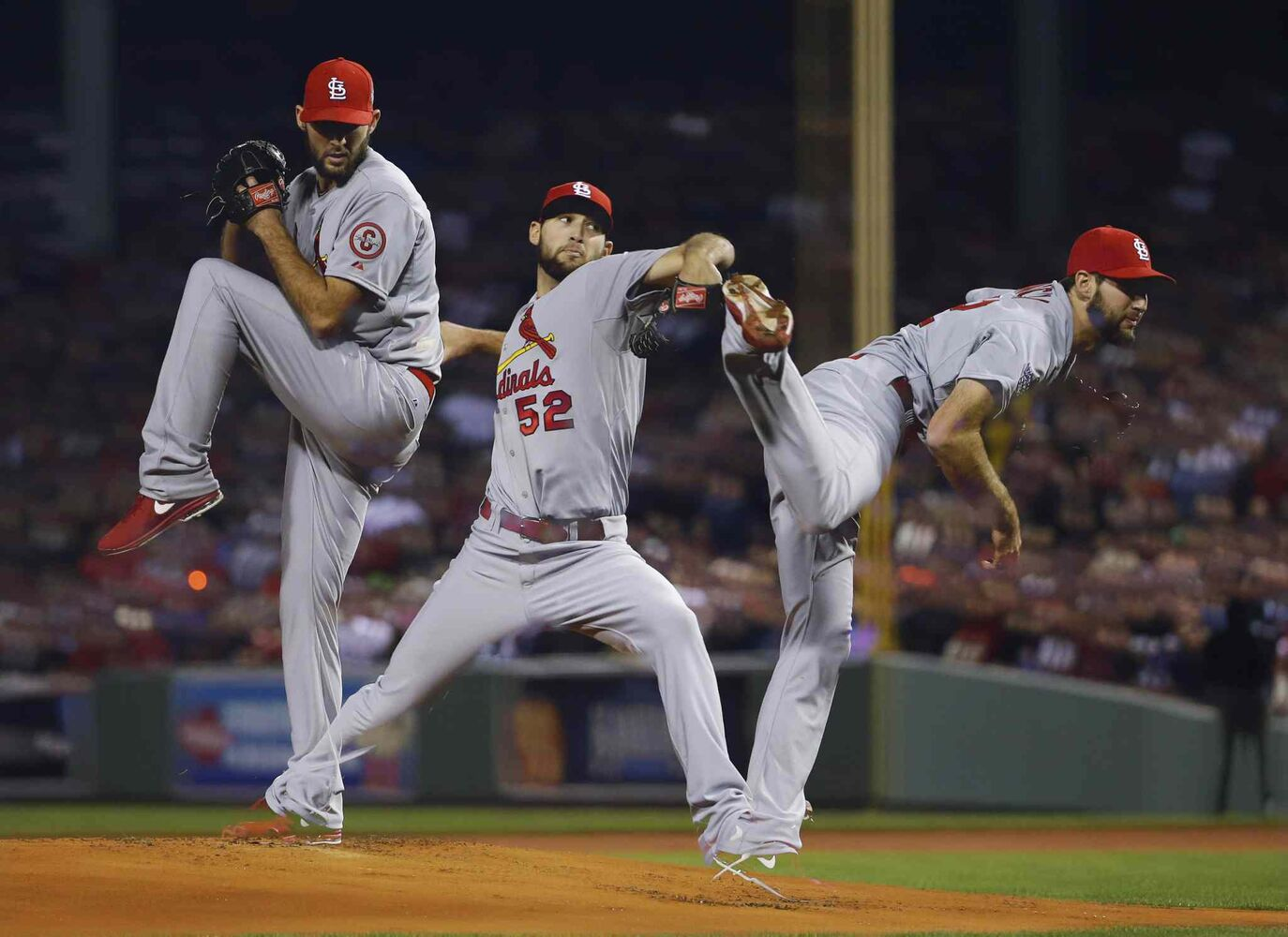 In a multiple exposure, St. Louis Cardinals starting pitcher Michael Wacha throws during the first inning. (Matt Slocum / The Associated Press)