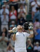 England's Ian Bell looks skywards as he celebrates his century during the second day of the third cricket test match of the series between England and India at The Ageas Bowl in Southampton, England, Monday, July 28, 2014. (AP Photo/Matt Dunham)
