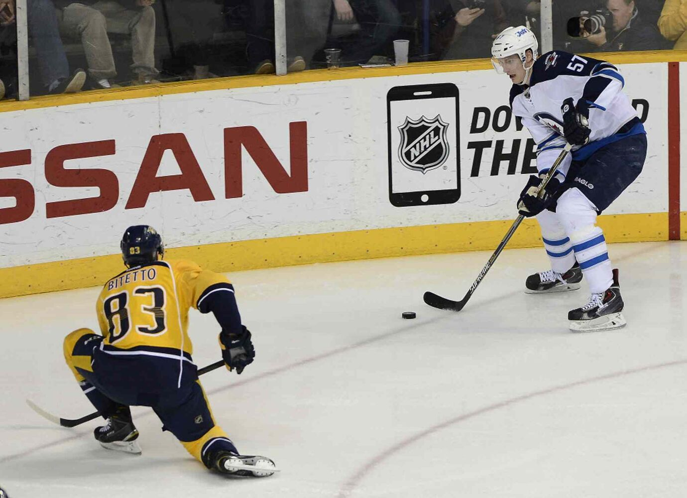 Winnipeg Jets defenceman Tyler Myers (57) looks to pass against Nashville Predators defenceman Anthony Bitetto (83) in the third period. (Mark Zaleski / The Associated Press)