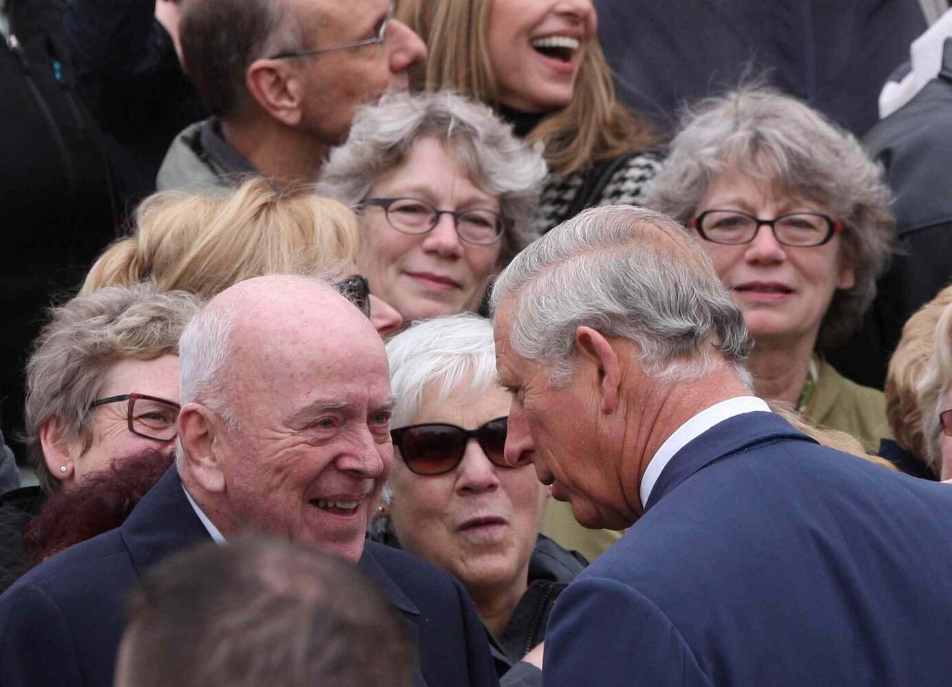 Prince Charles greets the crowd at the The Assiniboine Park Pavilion Gallery. (JOE BRYKSA / WINNIPEG FREE PRESS)
