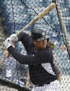 New York Yankees' Alex Rodriguez waits for a pitch during a spring training baseball workout, Thursday, Feb. 26, 2015, in Tampa, Fla. (AP Photo/Lynne Sladky)