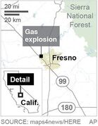 Map locates Fresno, Calif., site of a gas explosion; 1c x 2 inches; 46.5 mm x 50 mm;