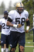 #58 Tyson Pencer at a Winnipeg Blue Bomber practice.