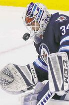 Winnipeg Jets goaltender Michael Hutchinson has a 14-4-2 record in his first full season in the NHL.