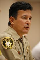 Las Vegas Metropolitan Police Department Deputy Chief Gary Schofield speaks during a news conference Monday, April 27, 2015, in Las Vegas. The news conference was to address security issues for the fight between Floyd Mayweather Jr. and Manny Pacquiao. (AP Photo/John Locher)