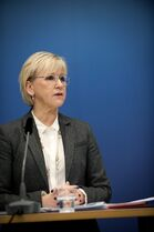 Sweden's Foreign Minister Margot Wallstrom talks during a news conference Thursday Oct. 30, 2014, at the government building Rosenbad, in Stockholm, after Sweden's new government officially recognized a Palestinian state. Wallstrom said the Scandinavian country had decided on the move because the criteria of international law required for such recognition had been fulfilled,