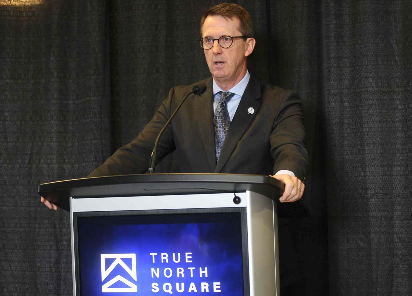 Mark Chipman at the the news conference for True North Square. (JOE BRYKSA / WINNIPEG FREE PRESS)