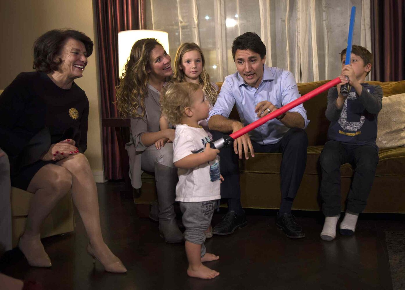 Liberal leader Justin Trudeau watches the results with his wife Sophie Gregoire, son Xavier (right) daughter Ella-Grace and son Hadrien and mother Margaret Trudeau at a hotel in downtown Montreal on Monday, Oct. 19, 2015.  (Paul Chiasson / The Canadian Press)