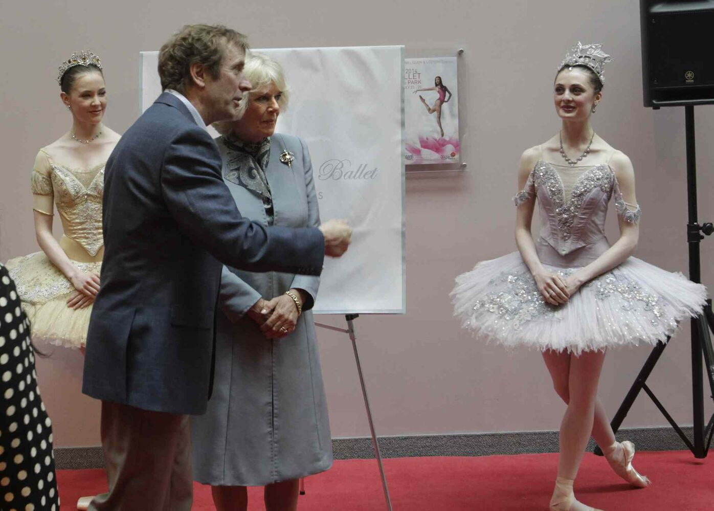 Camilla, Duchess of Cornwall with RWB Artistic Director Andre Lewis between dancers Katie Bonnell (left) and Anna O'Callaghan at Canada's Royal Winnipeg Ballet tour.