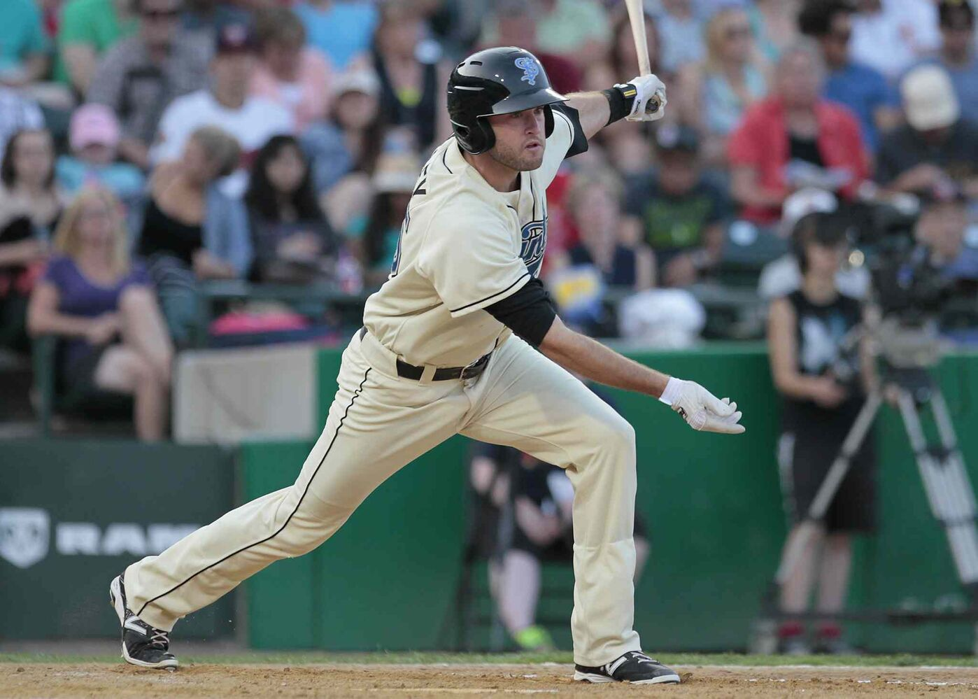 St. Paul Saints' Henry Wrigley hits during Tuesday's All-Star game at Shaw Park. (John Woods / Winnipeg Free Press)