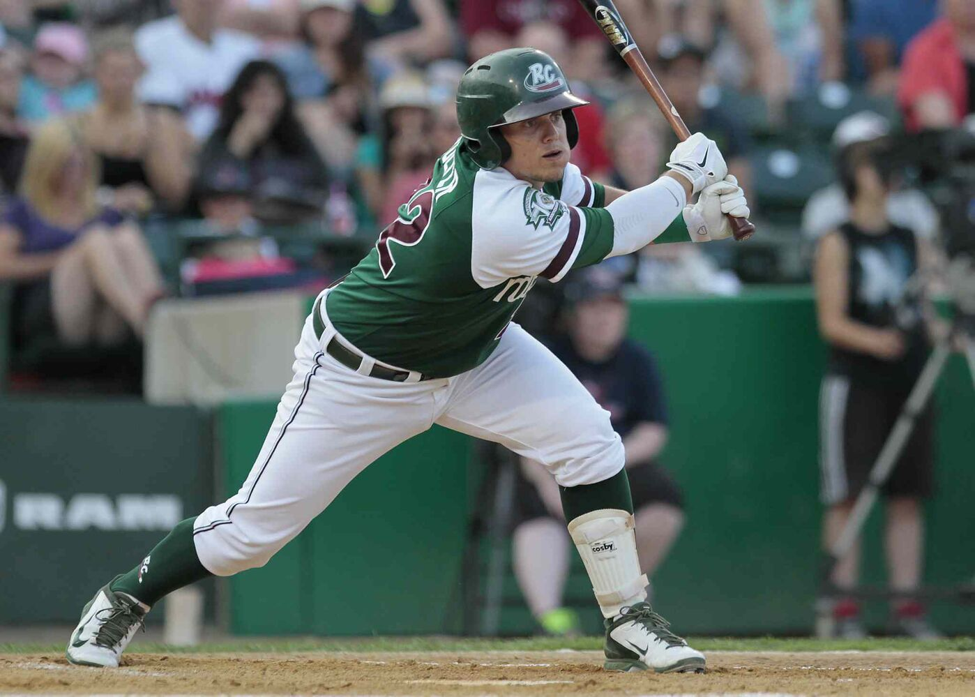 Gary SouthShore RailCats' Danny Pulfer hits in the 2014 American Association All-Star game in Winnipeg Tuesday. (John Woods / Winnipeg Free Press)