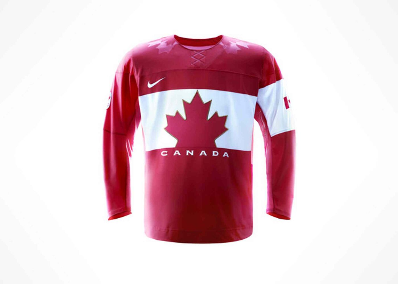 """The iconic red jersey celebrates the rich history of hockey in Canada. From the vintage-inspired logo on the new lightweight front crest to the Canadian flag on the sleeve and the maple leaf graphics on the shoulders, the new jersey represents Canada from top to bottom."" -Hockey Canada (Nike Inc.)"