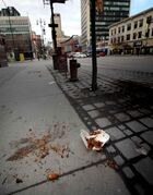 Look at that mess. Trash litters downtown sidewalks, giving the area low marks for cleanliness.