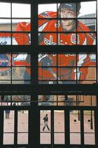 A large photo of Washington Capitals captain and all-star Alex Ovechkin adorns the windows above the entrance to the Nationwide Arena in Columbus for the NHL all-star weekend.