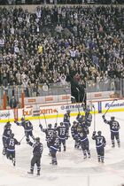 Winnipeg Jets salute the fans after giving them their first win against the Pittsburgh Penguins at the MTS Centre in Winnipeg, Monday, October 17, 2011. The Jets won 2-1. THE CANADIAN PRESS/John Woods
