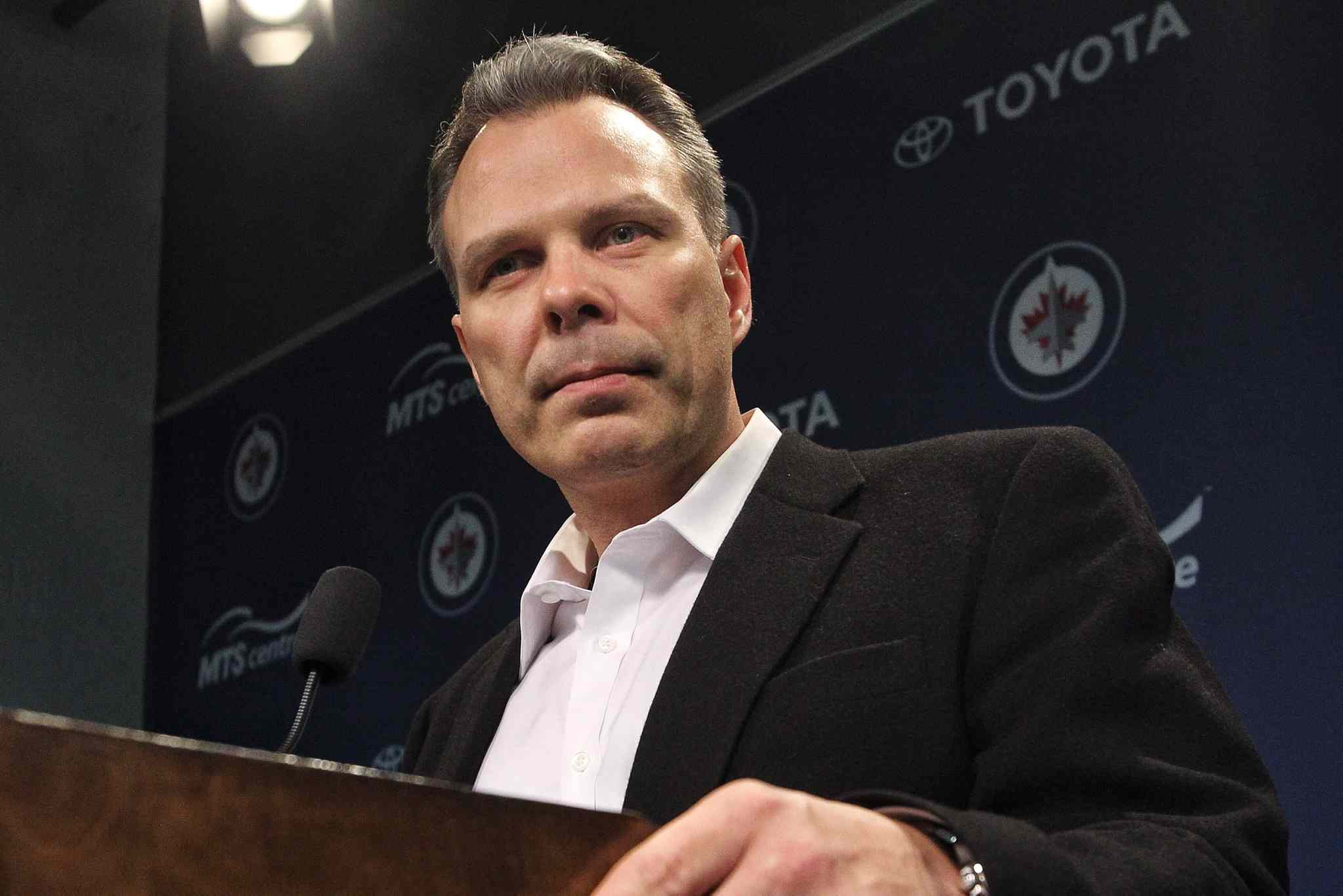Winnipeg Jets General Manager Kevin Cheveldayoff talks to the media about his decision to fire Claude Noel and hire Paul Maurice as the new head coach yesterday.