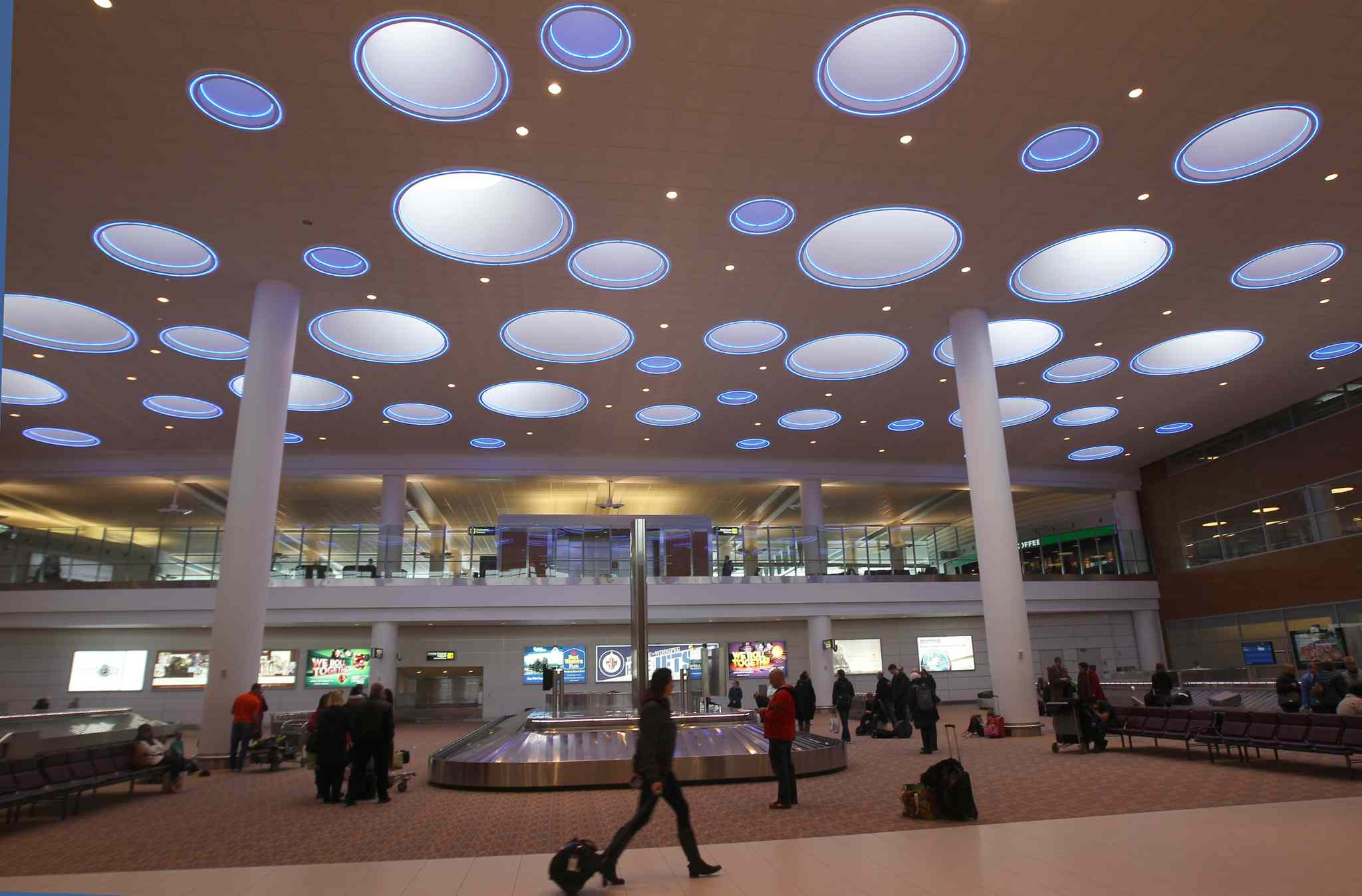The more than 50 skylights looking down on the arrivals area at James Richardson International helped the airport earn a spot on Fodor's Travel's list of the world's most stylish airports.