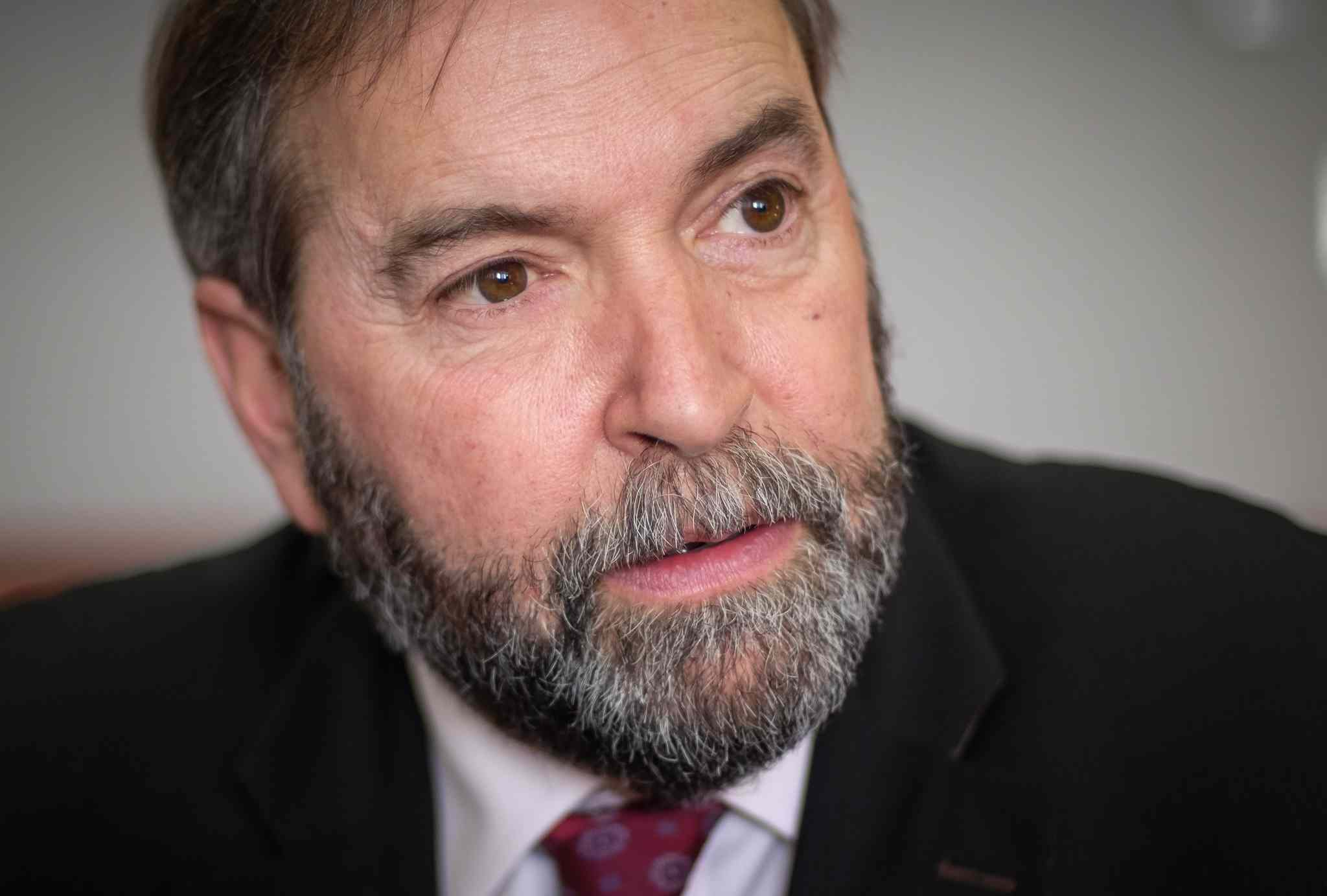 Official Opposition Leader Tom Mulcair is interviewed by the editorial board of the Winnipeg Free Press Wednesday on his nationwide 'affordability tour.'