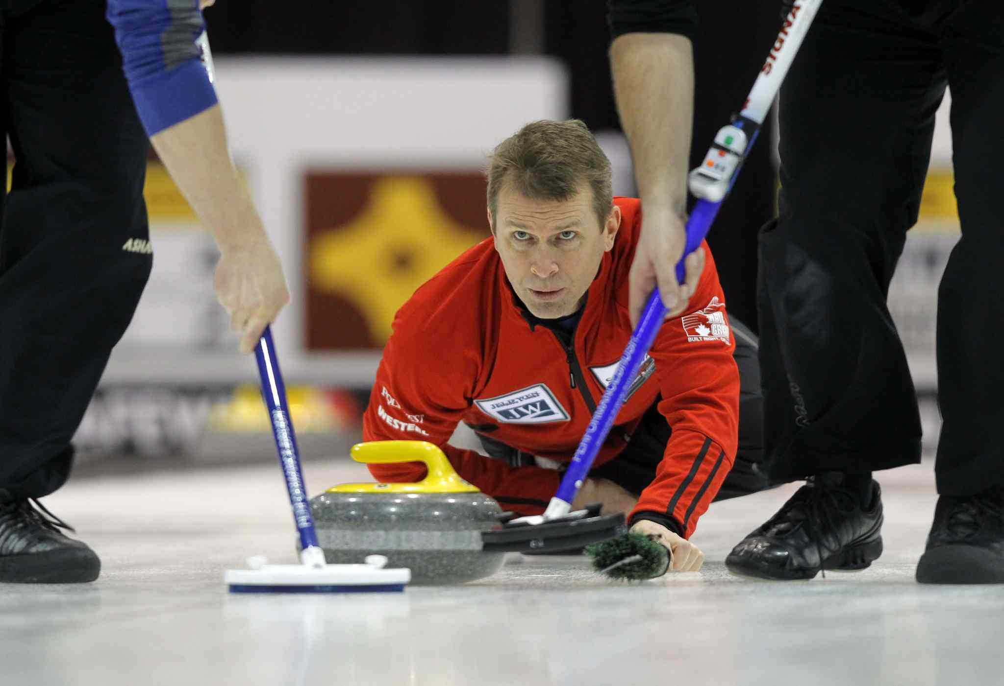 Defending champion Jeff Stoughton of Charleswood club claimed another victory Wednesday during the Safeway curling championship at MTS Iceplex.