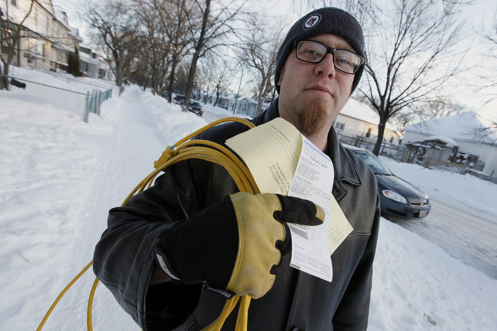 Paul Peters was ticketed for running an extension cord across a College Avenue sidewalk.