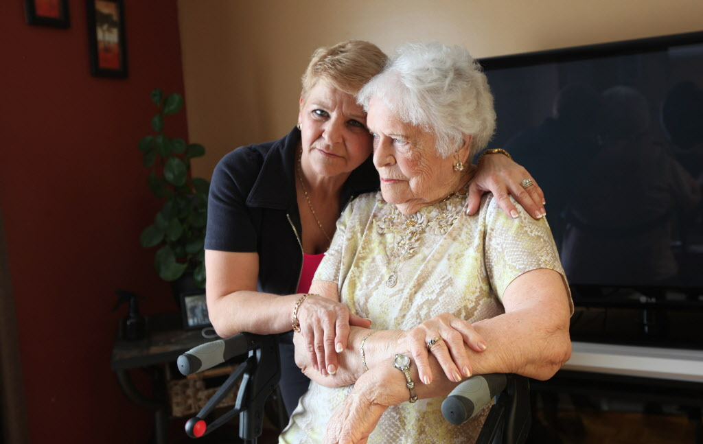 """""""I wouldn't want my mom in a home where  they're short-staffed and she just sits all day""""  — health-care aide Sandra Makwich, with her 89-year-old mother"""