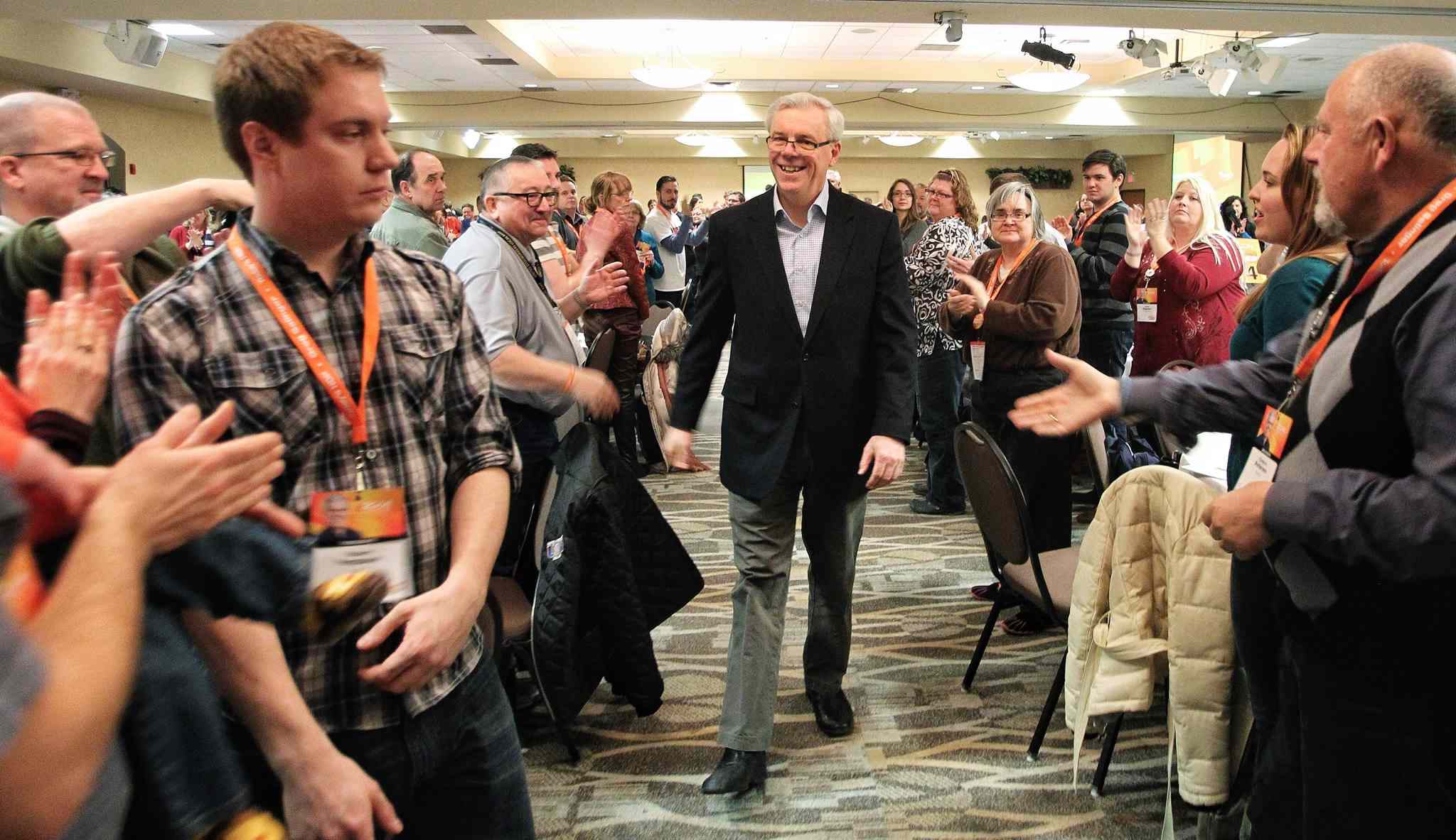 Greg Selinger enters the NDP convention floor to give his closing speech to the party faithful Sunday afternoon at Canad Inns Polo Park.