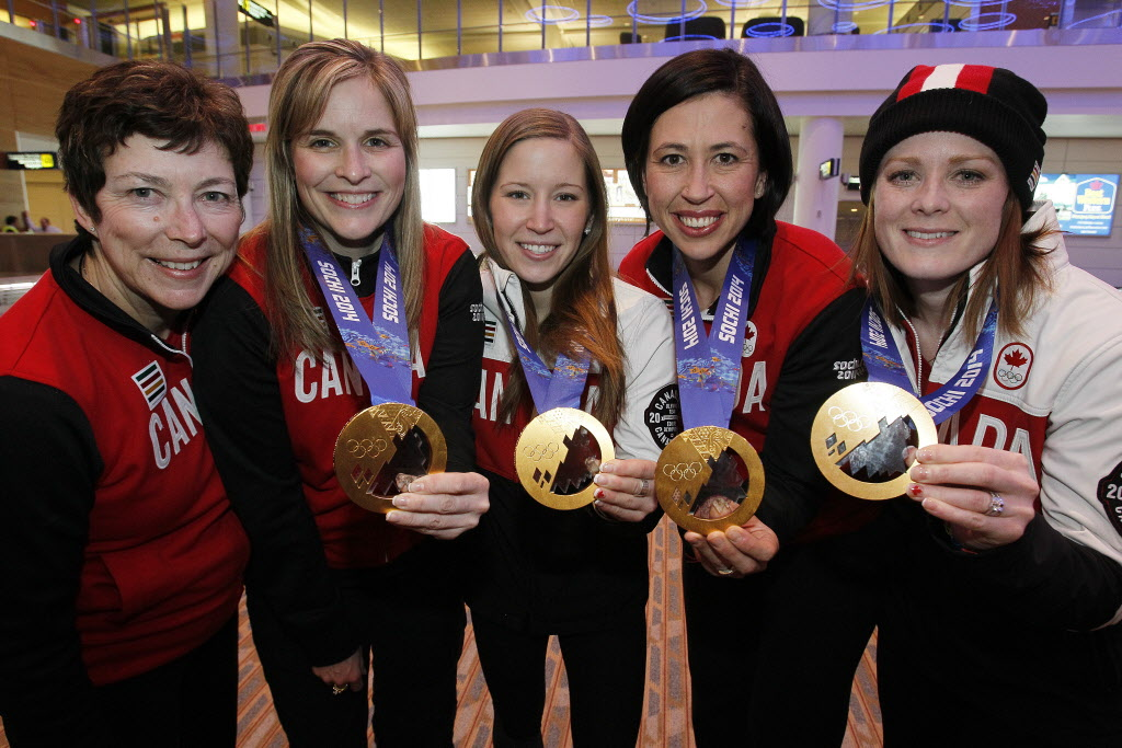 The Jones team of (from right) Dawn McEwen, Jill Officer, Kaitlyn Lawes and Jennifer Jones will take another shot at Oly gold. Coach Janet Arnott, left, is stepping down.