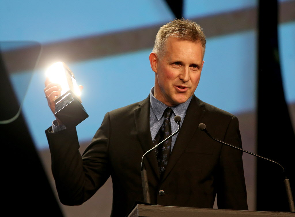 Mike Downes is absolutely glowing as he accepts his Juno for Traditional Jazz Album of the Year. (TREVOR HAGAN / WINNIPEG FREE PRESS)