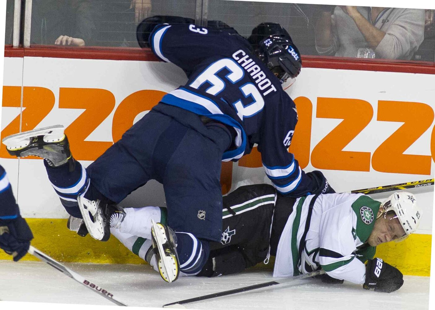 Dallas Stars Ales Hemsky (#83) is taken down by Winnipeg Jets Ben Chiarot (#63) during first period. (DAVID LIPNOWSKI / WINNIPEG FREE PRESS)