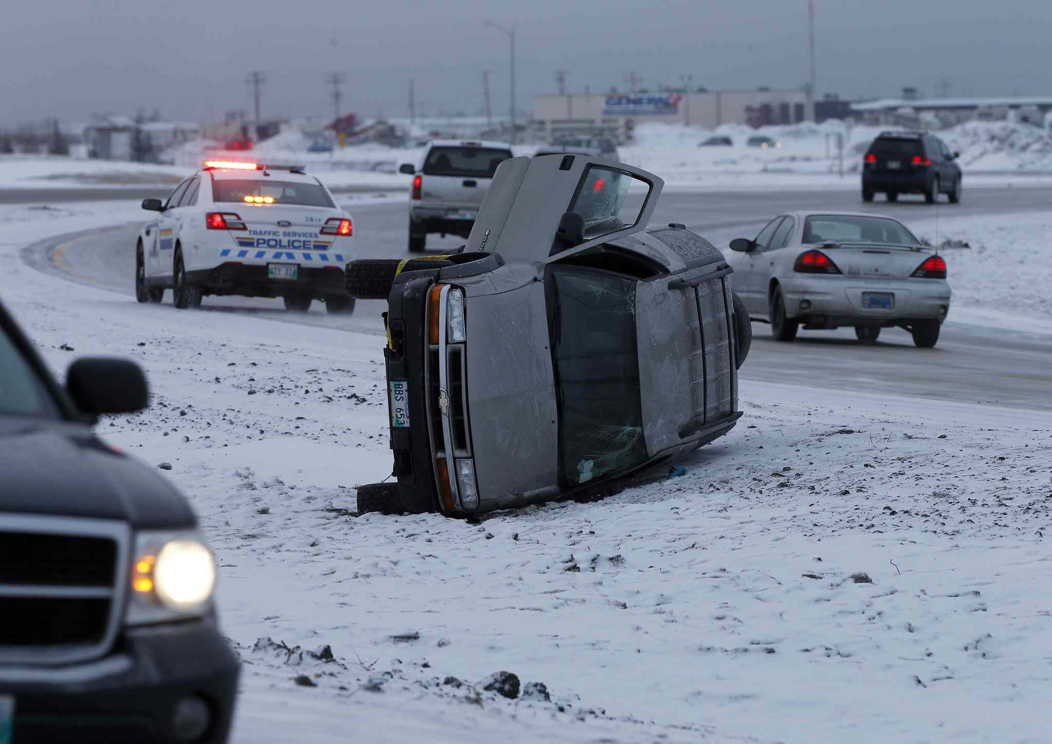 Four cars were off the road due to glare ice conditions on the rail overpass east of Centreport Canada Way.