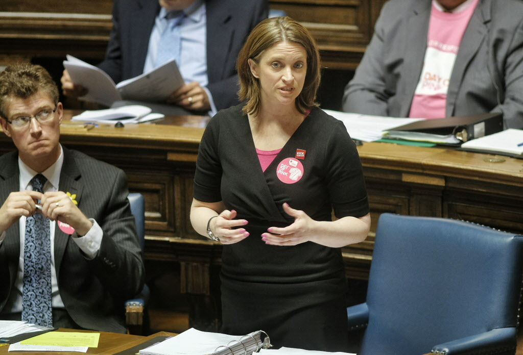 NDP Health Minister, Erin Selby, talks during question period at the Manitoba Legislature.