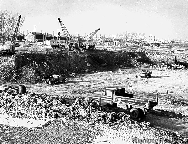 Polo Park - Excavation for new Simpson Sears store at Polo Park.  Jan 9, 1958