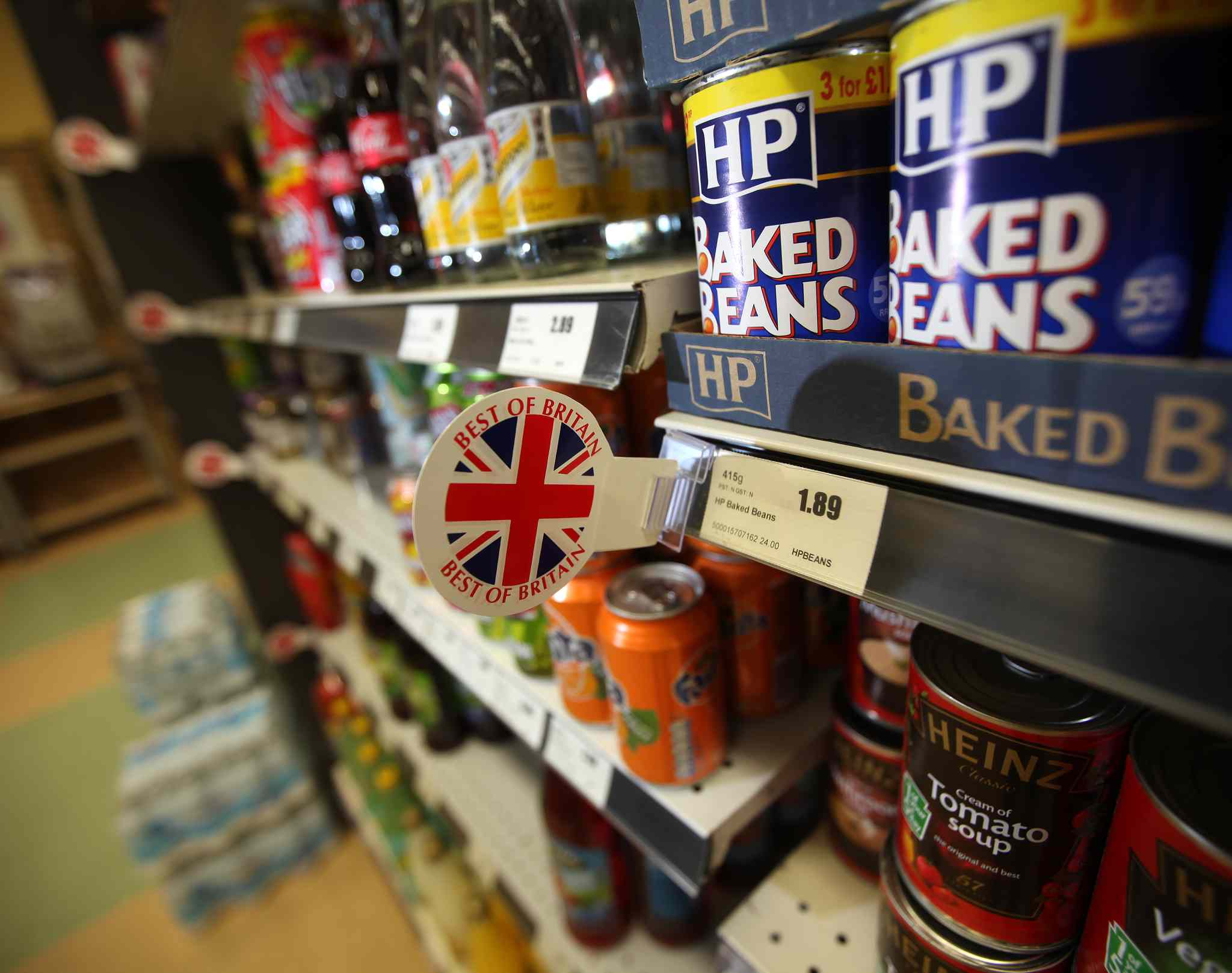 Baked beans sit amidst a selection of English treats stocked in the local Stonewall grocery for member's of the Plymouth Brethren, though the grocer says other locals have taken a shine to the imports as well.