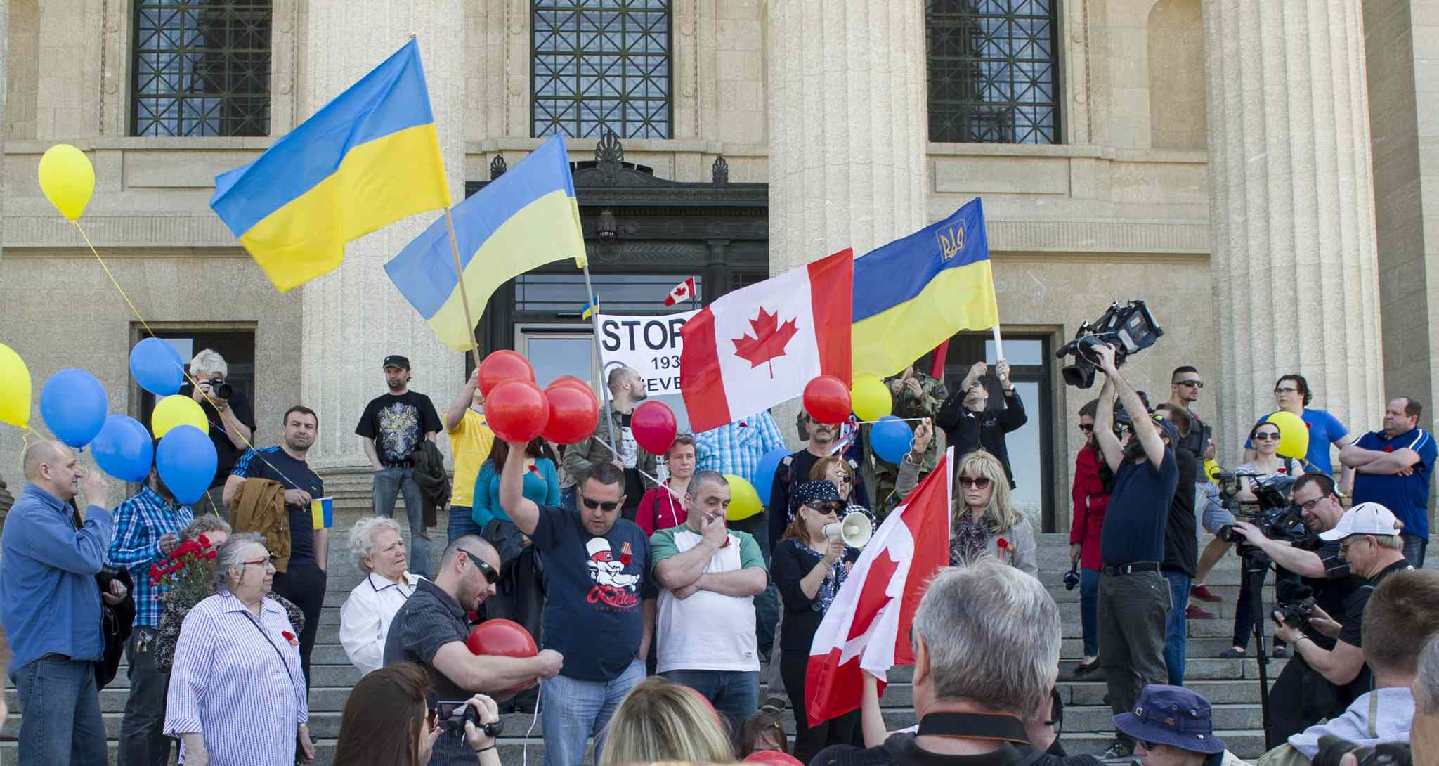 A Russian group organized Winnipeg's Victory Day parade commemorating the defeat of Nazi Germany in the Second World War at the Manitoba Legislature Building Saturday afternoon. Some wore St. George's ribbons, which led to confrontations with members of the Ukrainian community.