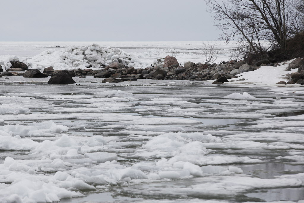 Sheets of ice sit on top of Lake Winnipeg, making it look more like March than May