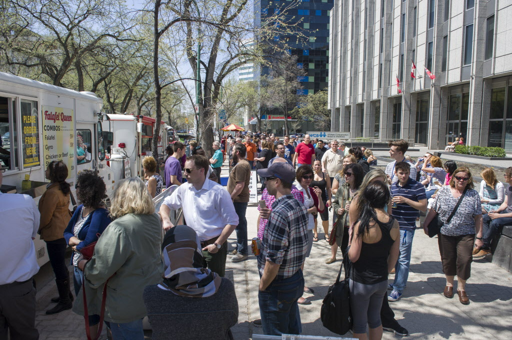 There were long lineups at the food trucks and hotdog carts over the lunch hour on Friday.