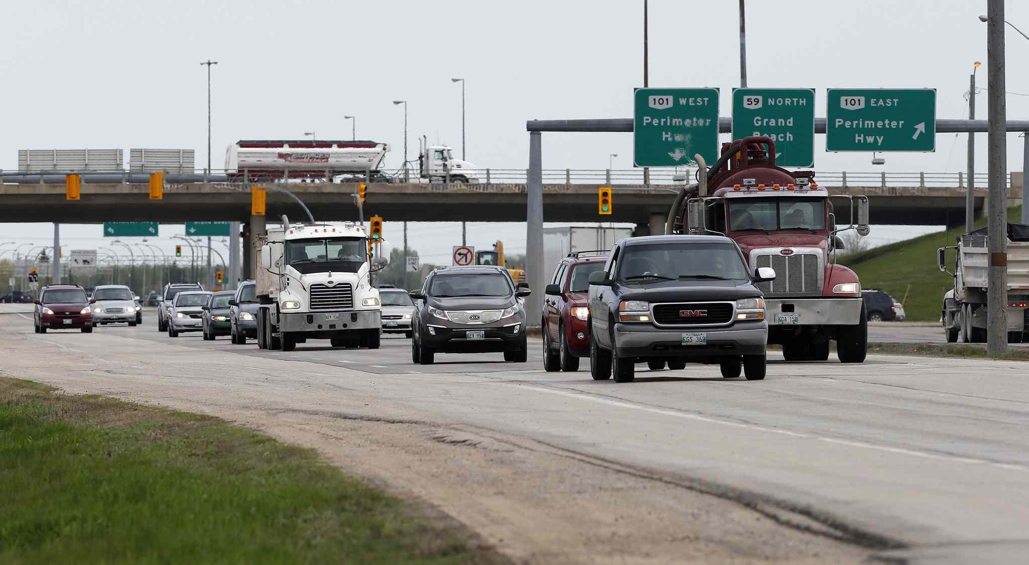 The interchange at Hwy. 59 and the Perimeter Highway has become the busiest intersection in the province outside the city because of increasing truck traffic and residential and commercial development.