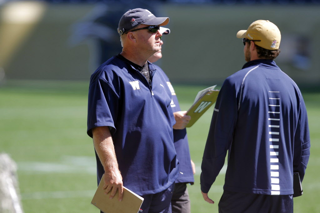 Assistant GM Danny McManus at Blue Bombers' training camp Tuesday.