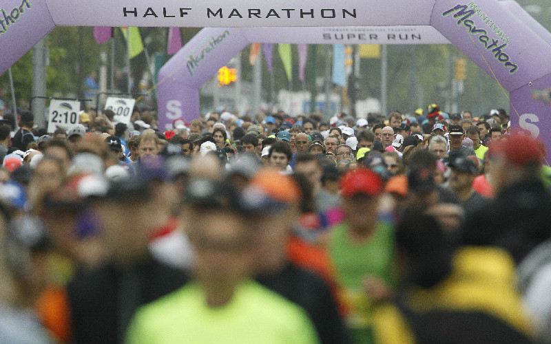 Half Marathon participants start at the University of Manitoba, Sunday, June 15, 2014.