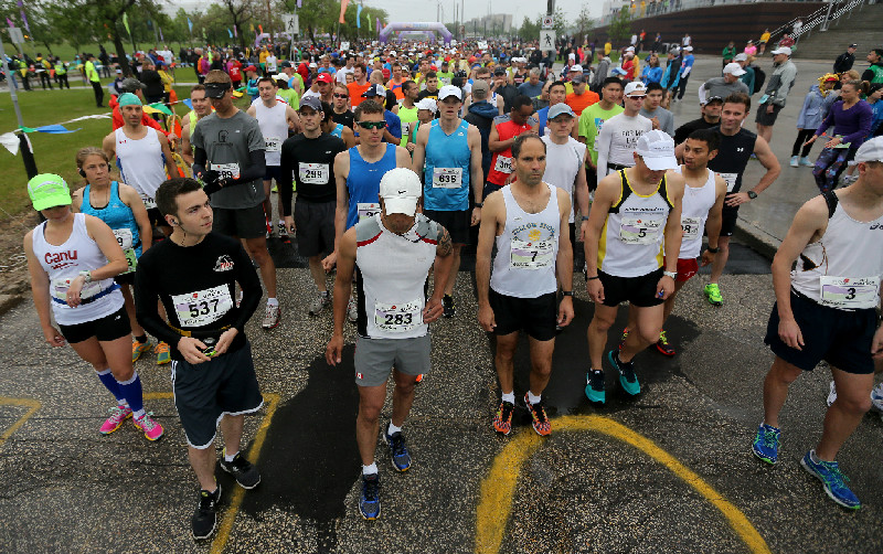 Full Marathon participants prior to the start at the University of Manitoba, Sunday, June 15, 2014. (Trevor Hagan / Winnipeg Free Press)