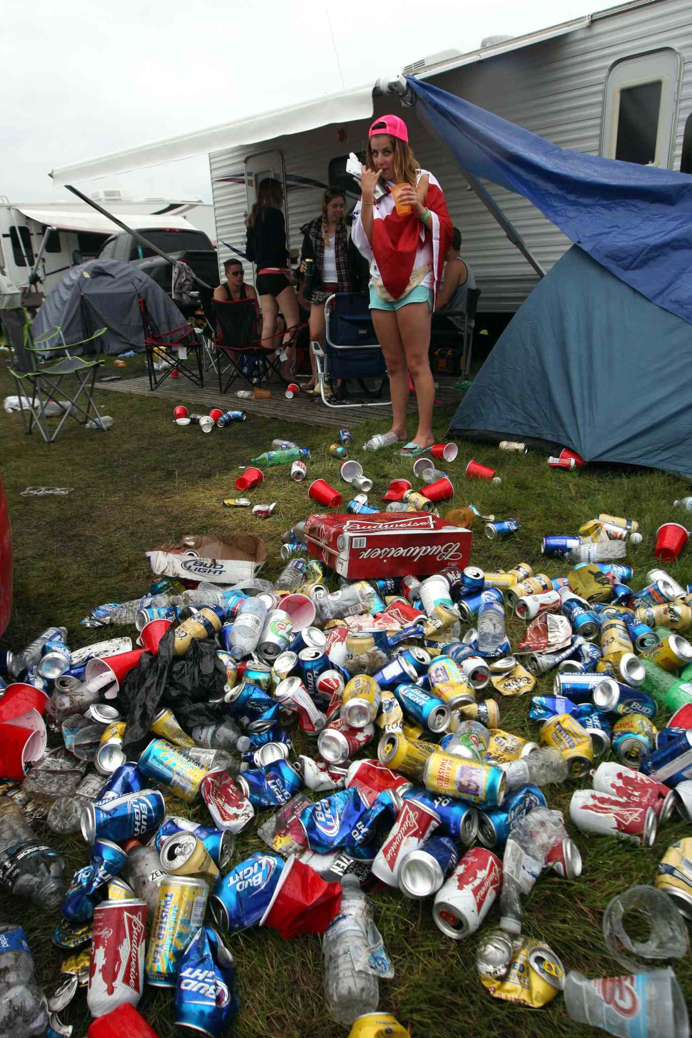 Festival goers killed some time during a rainy Saturday afternoon by drinking. Here are a few empties.