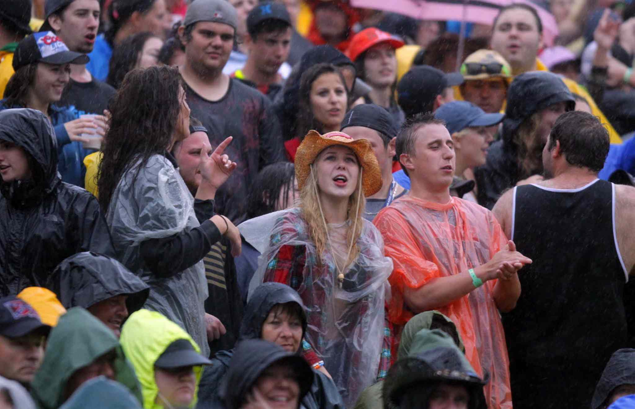 Dedicated, wet fans watch Dallas Smith performs second last Saturday night.