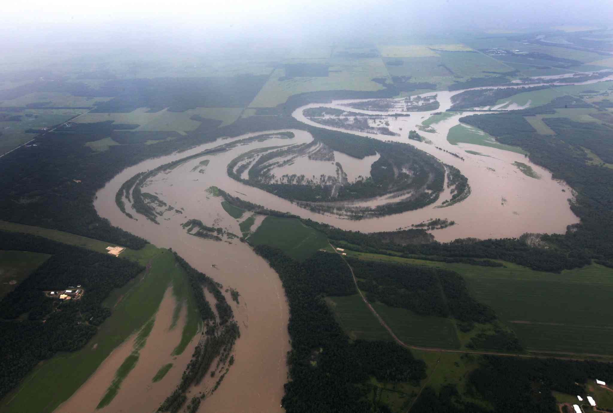 Aerial photo of flooded roads west of Portage la Prairie area.