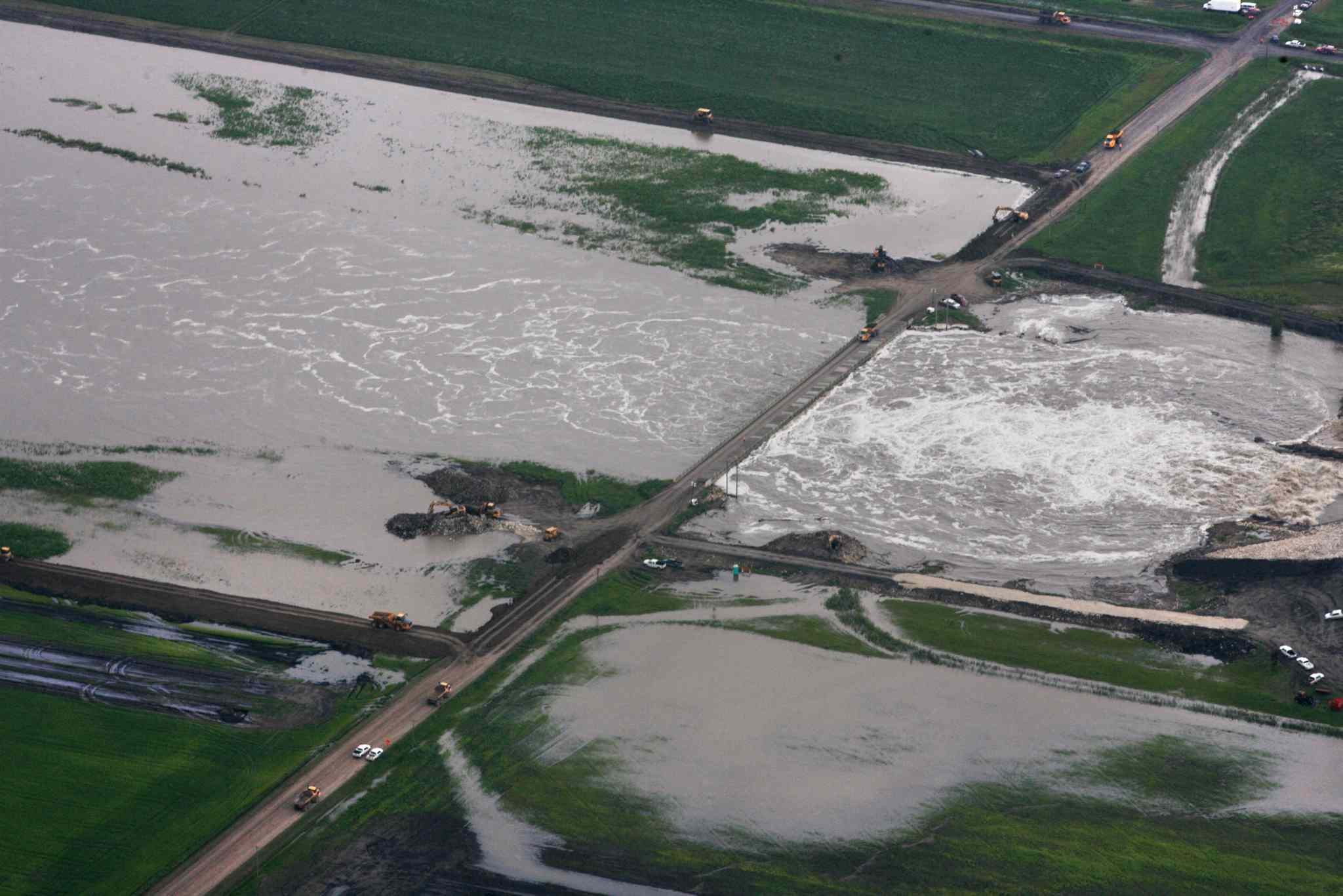 Aerial photo north of  Portage la Prairie area of the man-made diversion leading to Lake Manitoba.