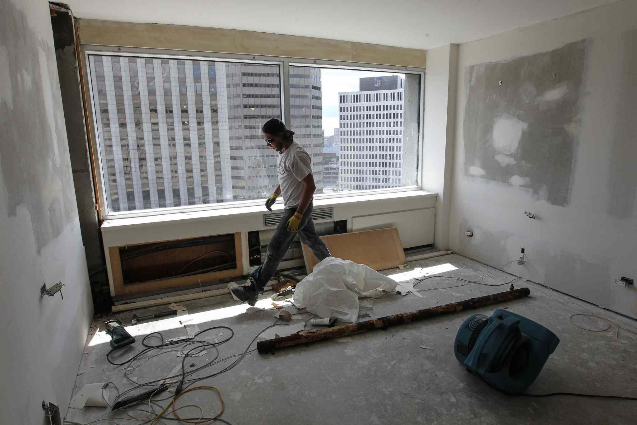 Rooms on three floors of the downtown hotel are getting a top-to-bottom makeover. The work is expected to be finished by the end of September.