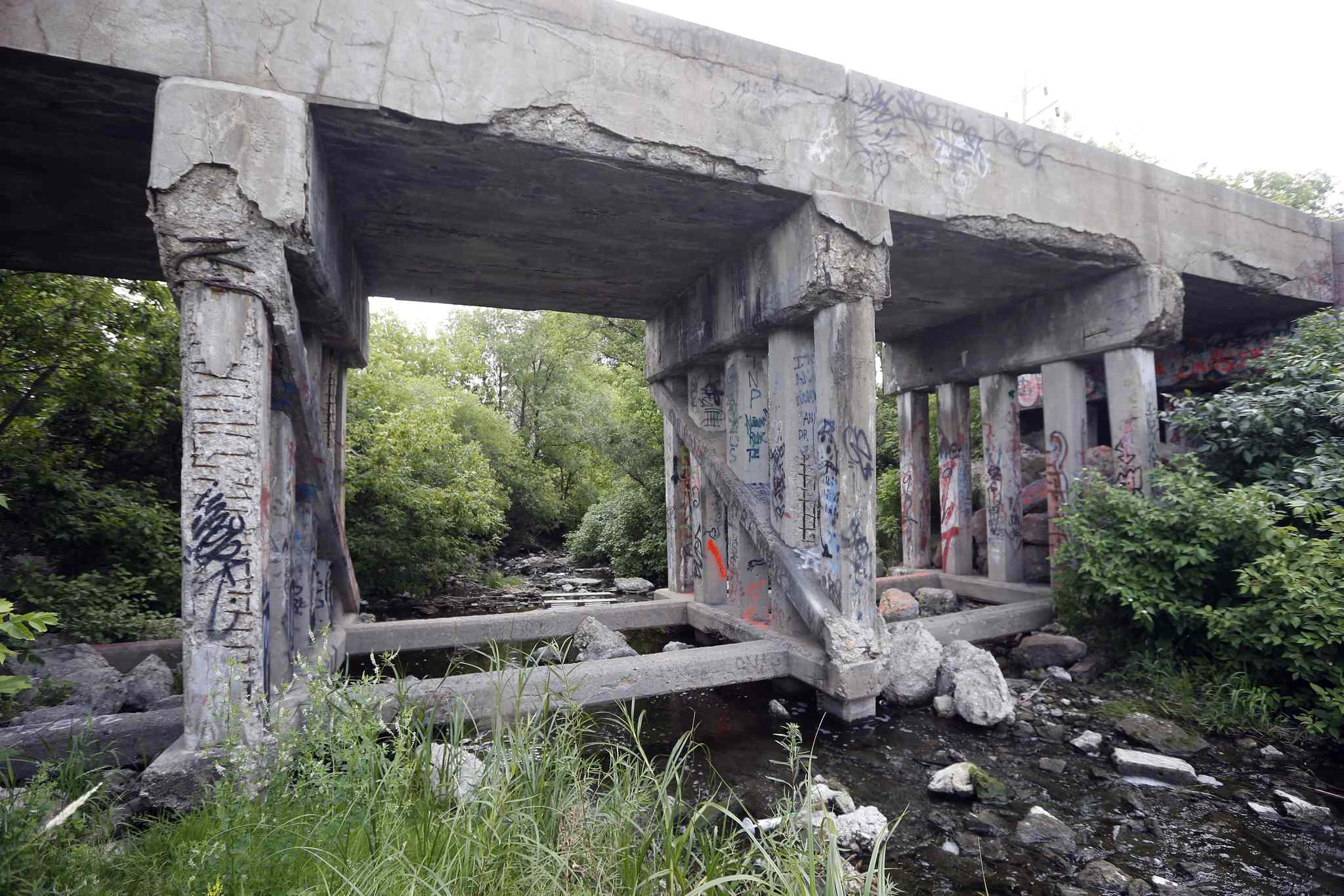 Three teens checked out the creek area under the railway bridge east of Empress Street and were assaulted and robbed on Saturday, July 12..