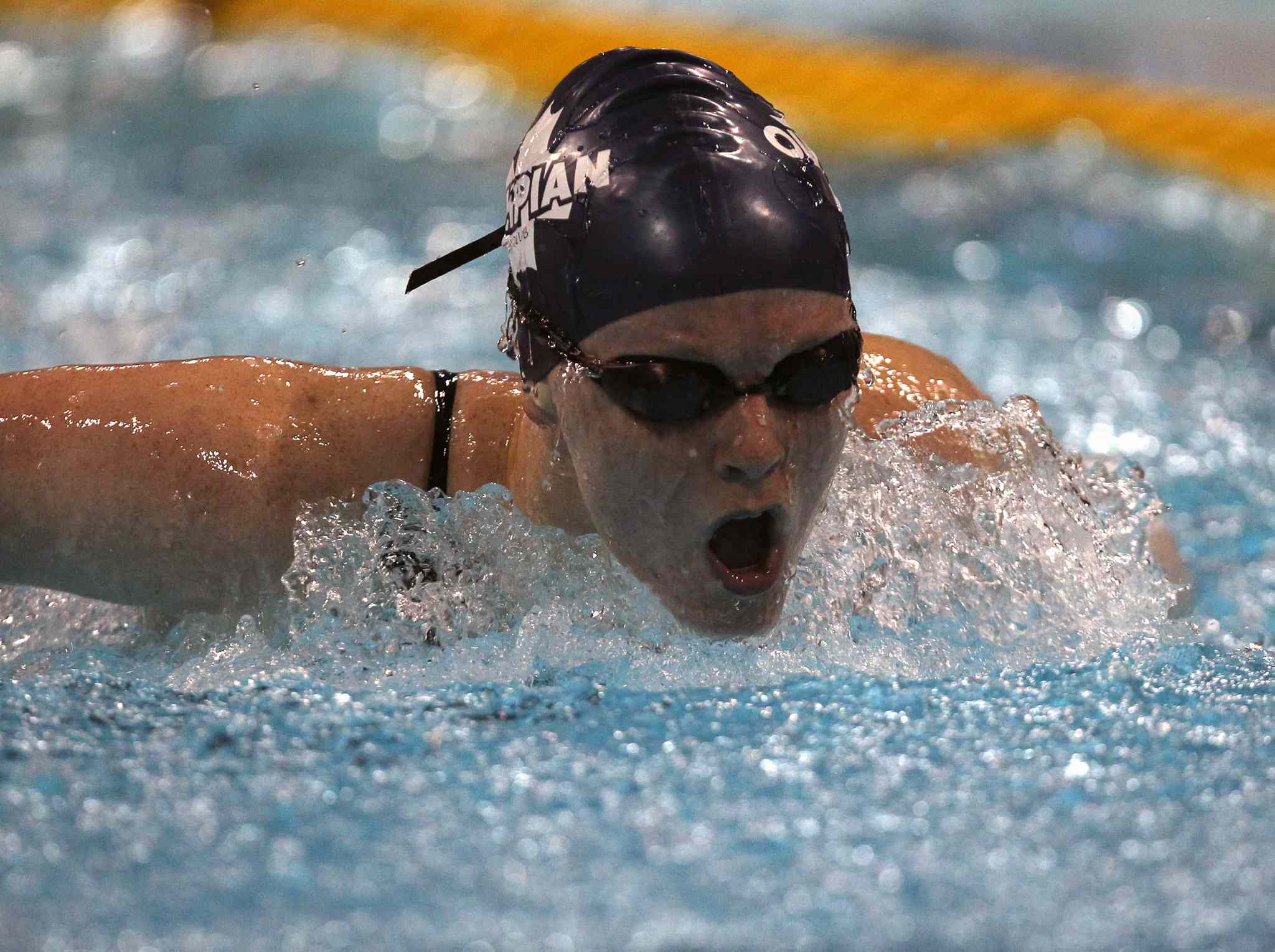 Jacomie Strydomof the Olympian Swim Club during her 16-18 year old girls' 200m butterfly final at the 2014 Canadian Age Group Championships at Pan Am Pool in Winnipeg. (JOE BRYKSA / WINNIPEG FREE PRESS)