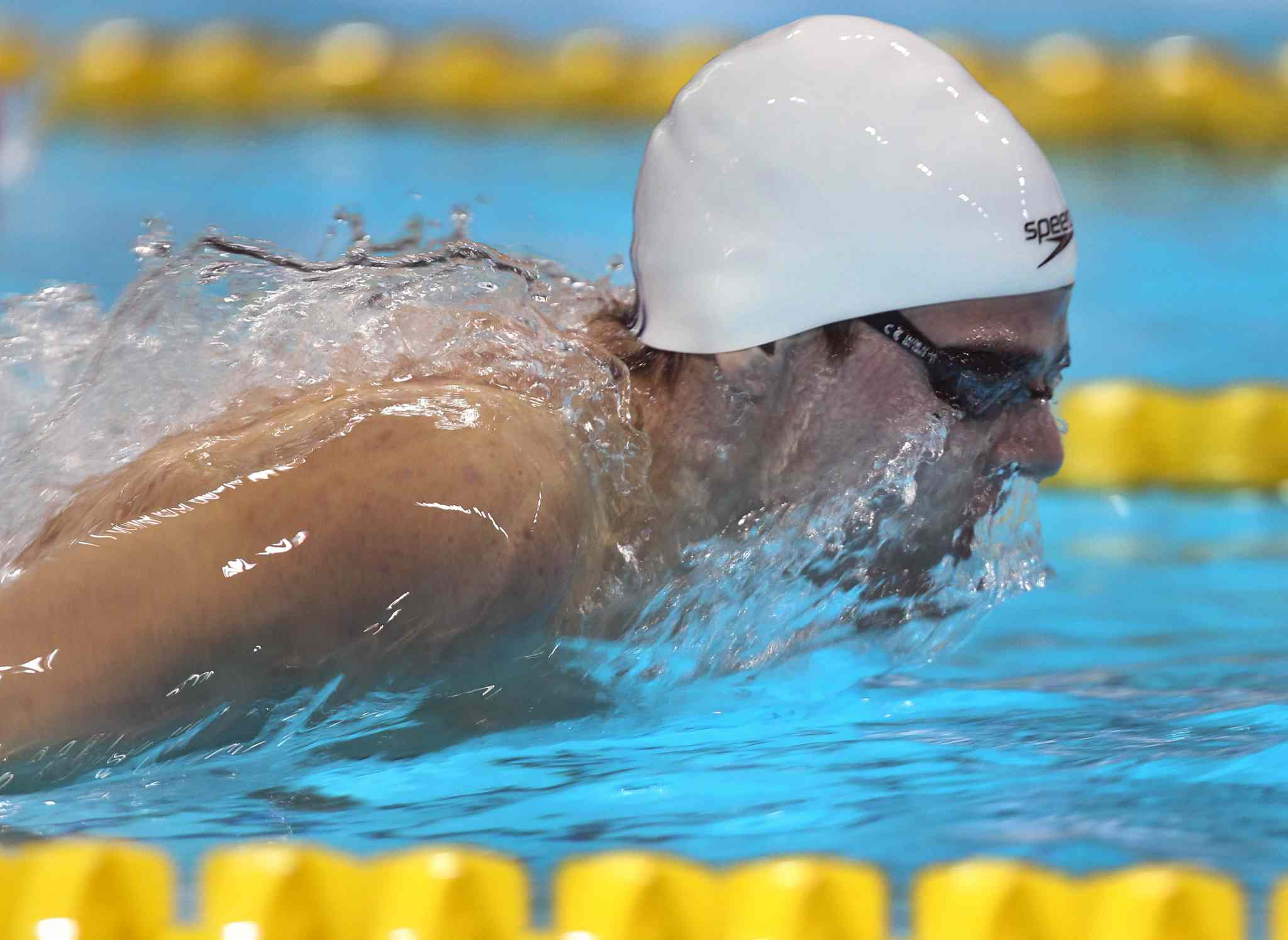 Wyatt Yarish of the Manata Swim Club in Winnipeg competes in the 17-18 year old final of the boys 200m fly at the 2014 Canadian Age Group Championships at Pan Am Pool in Winnipeg. (JOE BRYKSA / WINNIPEG FREE PRESS)