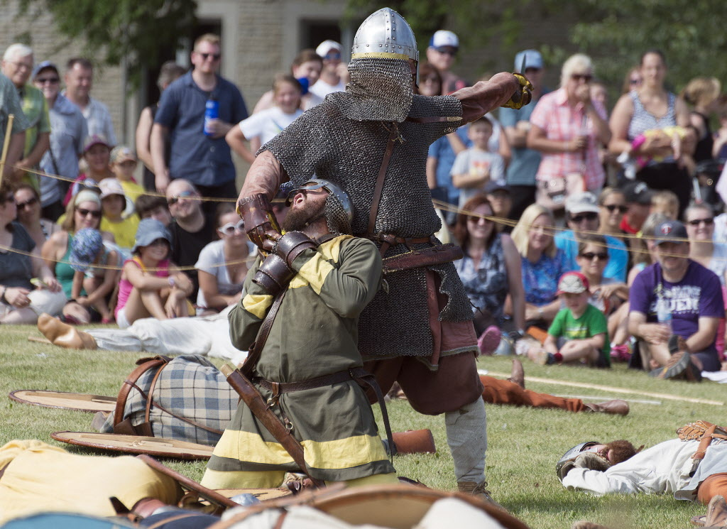 The blacksmith was the last man standing in the Viking Reenactment Battle at the Icelandic Festival of Manitoba in Gimli on Saturday. ( Sarah Taylor / Winnipeg Free Press)